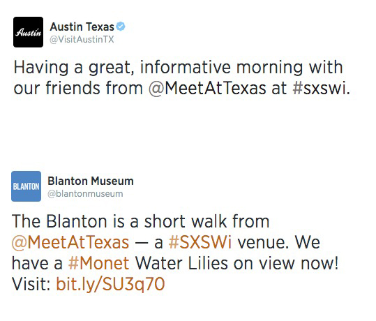 We believe that authentic relationships build long-lasting relationships, and we  worked with the hotel to build these with partners.  When guests flooded the city for the famous South By Southwest Festival (#SXSW), these partners helped spread the hotel's branding.<br /><br />In this example, The Blanton Museum and the Austin Convention and Visitors Bureau have over 80,000 Twitter followers, many of whom are tourists. That's a lot of potential eyeballs.